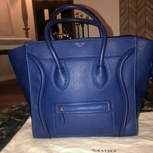 Celine mini luggage tote indigo blue